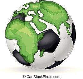 pelota, continentes, clásico, concept., mundo, tierra,...