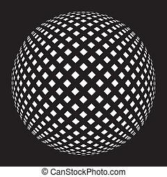 pelota, cuadrícula, en, negro