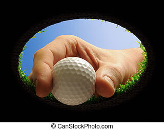 pelota de golf, con, mano