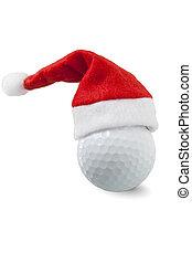 pelota de golf, con, santa sombrero
