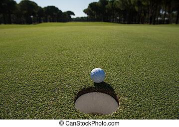 pelota de golf, en, el, agujero