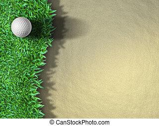 pelota de golf, en la hierba