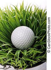 pelota de golf, en, pasto o césped