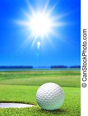 pelota de golf, en, verde, curso