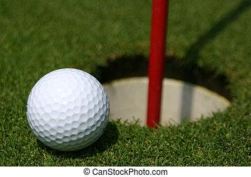 pelota de golf, y, agujero
