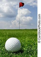 pelota de golf, y, bandera