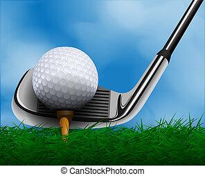 pelota de golf, y, club, delante de, pasto o césped