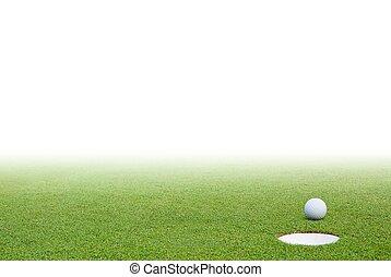 pelota de golf, y, hierba verde