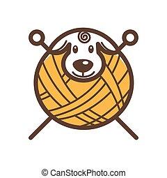 pelota de lana, hilos, con, neddles, para, tejido de punto