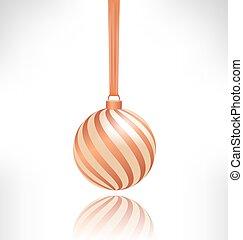 pelota de navidad, grayscale, reflexión, espiral