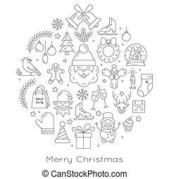 pelota de navidad, -, negro y blanco, línea, iconos, arreglado, en, círculo