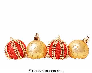 pelota de navidad, rojo, y, oro