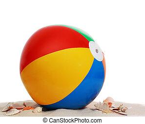 pelota de playa, en, arena de la playa