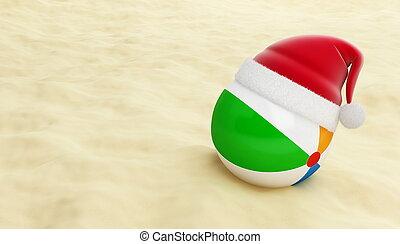 pelota de playa, sombrero, santa