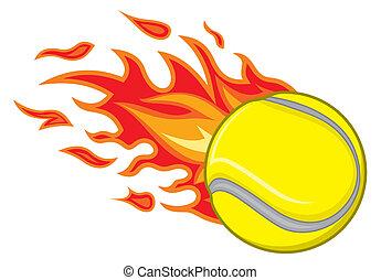 pelota de tenis, fuego