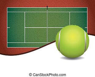 pelota de tenis, tribunal, plano de fondo, ilustración