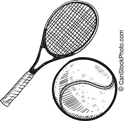 pelota de tenis, y, raqueta, bosquejo