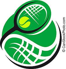 pelota de tenis, y, raqueta, icono