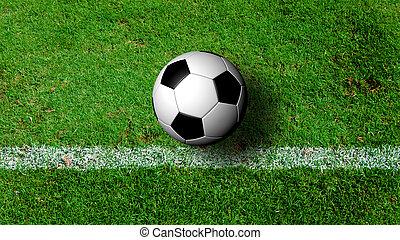 pelota del fútbol, cima, campo, hierba verde, vista