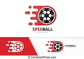 pelota del fútbol, combination., símbolo, fútbol, logotype, rápido, o, vector, diseño, digital, logotipo, icon., único, velocidad, template.