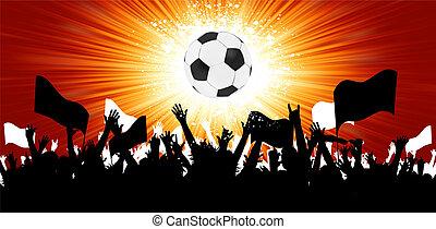 pelota del fútbol, con, multitud, siluetas, de, fans., eps,...