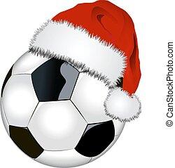 pelota del fútbol, con, santa sombrero
