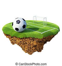 pelota del fútbol, en, campo, área de pena, y, meta, basado, en, poco, planet., concepto, para, futbol, campeonato, liga, equipo, design., diminuto, isla, /, planeta, collection.