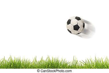 pelota del fútbol, en, grass., aislado