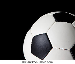 pelota del fútbol, en, un, fondo negro