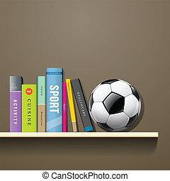 pelota del fútbol, libros, fila