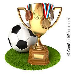 pelota del fútbol, medallas, taza de oro