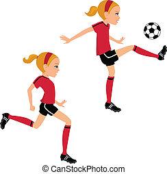 pelota del fútbol, patear, 2, niña, posturas