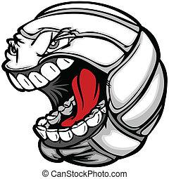 pelota del vóleibol, estridente, cara, caricatura, vector, imagen