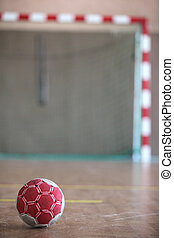 pelota, delante de, interior, meta