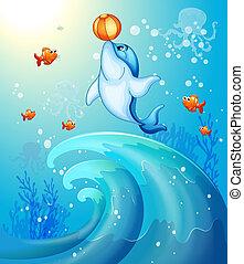 pelota, delfín, juego, mar, debajo