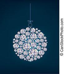 pelota, diamante azul, plano de fondo, navidad