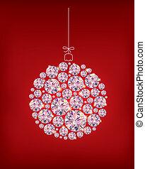 pelota, diamante, plano de fondo, navidad, rojo