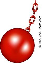 pelota, diseño, destruir, rojo