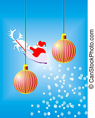 pelota, dos, rojo, navidad