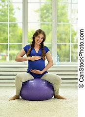 pelota, ejercicios, mujer, gimnástico, embarazada