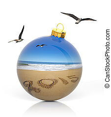 pelota, escrito, 2015, playa, navidad, arenoso