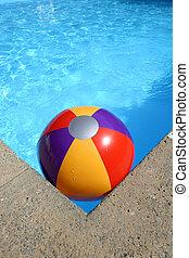 pelota, esquina, piscina