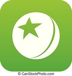 pelota, estrella, vector, verde, brillante, icono