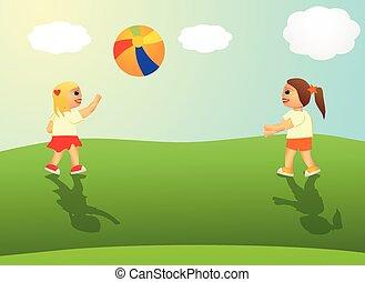 pelota, exterior, niñas, juego, sol
