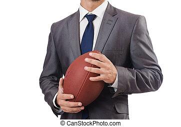 pelota, fútbol, aislado, norteamericano, blanco, hombre