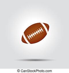 pelota, fútbol, aislado, norteamericano, sombra, blanco