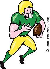 pelota, fútbol, norteamericano, corriente, receptor, caricatura