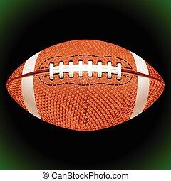 pelota, fútbol, norteamericano, vector, fondo negro