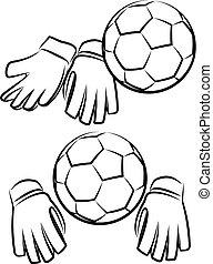 pelota, fútbol, o, guantes, futbol, portero