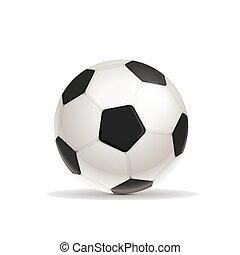 pelota, fútbol, realista, brillante, sombra, blanco